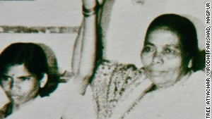 Activist Seema Sakhare (right) with Mathura, who says she was raped by two policemen in India in 1972. The photo was obtained from a booklet published by Sakhare\'s organization.