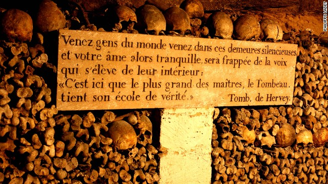Tours pass by neat stacks of bones, including many Parisians who fell victim to the guillotine.