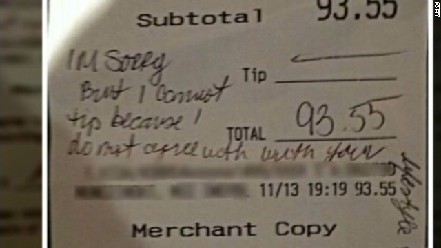 Thousands of dollars in donations poured in after Dayna Morales posted this image to a Facebook group. A couple later came forward with a similar bill showing that they had tipped and not written a disapproving note.