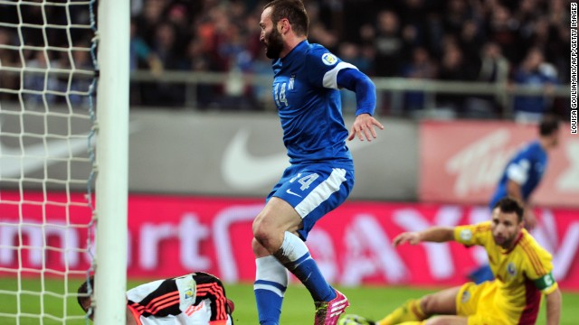 Dimitris Salpingidis scored one of the goals for Greece, which takes a