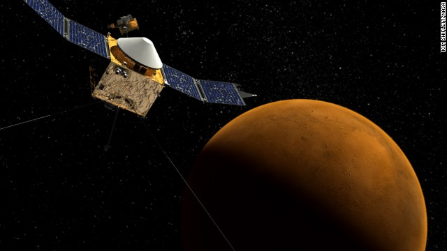 A new NASA spacecraft called MAVEN, short for Mars Atmosphere and Volatile Evolution, will help scientists figure out what happened to the red planet's atmosphere. It's elliptical orbit will allow it to pass through and sample the entire upper atmosphere of Mars. This drawing shows Maven orbiting Mars.