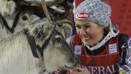Mikaela Shiffrin beats rivals to four-legged prize