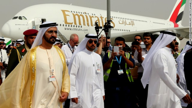 Ruler of Dubai Sheikh Mohammed Bin Rashid al-Maktoum (L) at the Dubai Airshow on November 17.