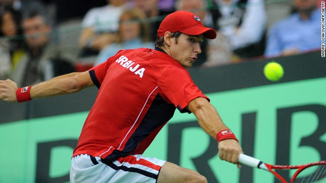 Dusan Lajovic is at full stretch in his Davis Cup deciding singles against the experienced Stepanek as he slipped to a straight sets defeat.