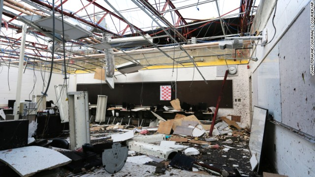 The roof was torn off this classroom at Southwestern Middle School in Lafayette, Indiana, on November 17.