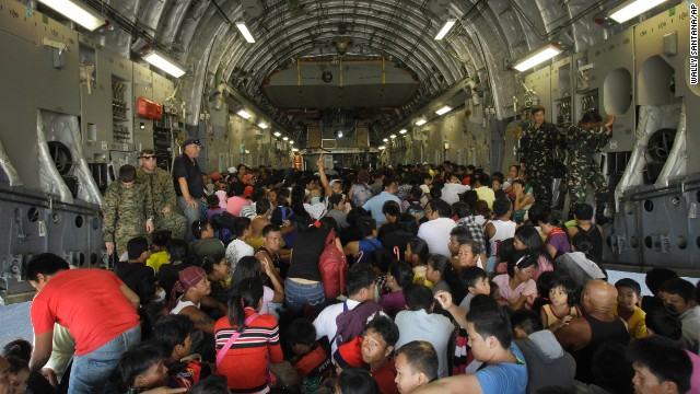 Hundreds of typhoon survivors are pac