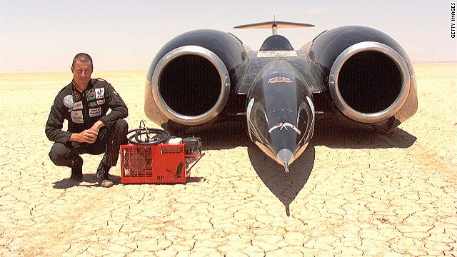 In 1997, former Royal Air Force fighter pilot Andy Green became the first person to break the sound barrier on land with the Thrust SSC<!-- --> </br> -- the world's fastest car