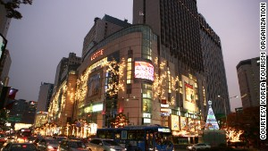 Lotte Department Store in the Myeongdong district is one of Seoul\'s most insanely popular shopping centers.