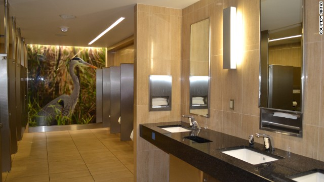 Some 17 million passengers pass through Tampa's airport each year, and the 20 restrooms in the main terminal needed to be renovated to stand up to constant usage. Environmental concerns were addressed with high-end hand dryers, low-water usage equipment and LED lighting. And there's even art.