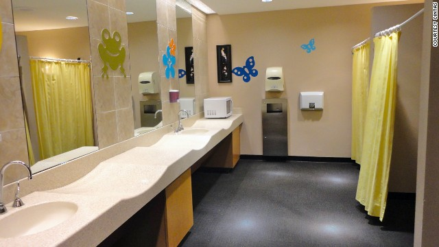 This upscale shopping mall features two family lounges with private nursing areas, multiple diaper changing stations and bottle warmers. There are even stalls with standard and pint-size toilets together, so smaller children don't have to go alone.