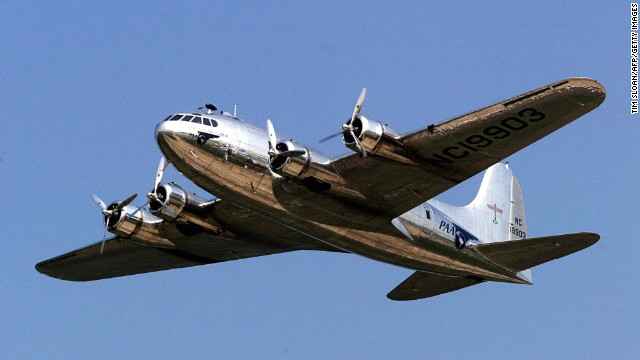 "Based on the B-17 military bomber, Boeing's 307 Stratoliner first flew on December 31, 1938. It was the first commercial transport aircraft with a pressurized cabin, allowing it to fly above the clouds and bad weather. Howard Hughes bought one, and turned it into a ""flying penthouse"" with a bedroom, two bathrooms and lounge area."