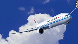 The 777 carries more than 300 passengers.