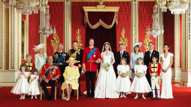 The British royal family in the Throne Room at Buckingham Palace in London on April 29, 2011.