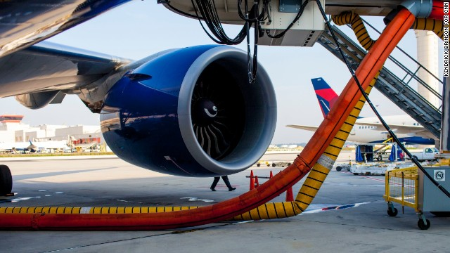 Delta First Officer Michael Maier does an external inspection of a Delta 777 plane.