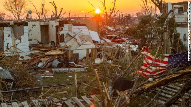 Washington, Illinois, sits in ruins on Monday, November 18, the day after a severe tornado ripped through the community. A fast-moving storm system that produced several tornadoes left behind a path of destruction across the Midwest.