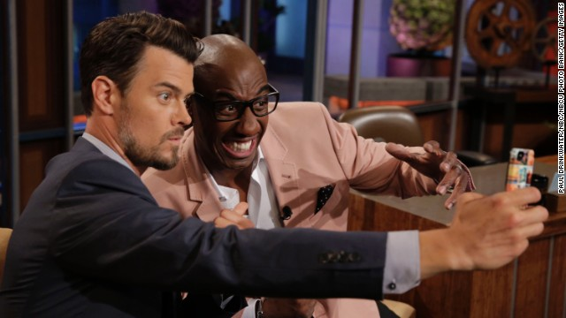 "Duhamel and comedian JB Smoove take a selfie during a commercial break on ""The Tonight Show with Jay Leno."""