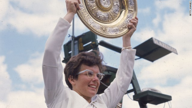 King holds aloft the trophy after beating Ann Jones to win the women's singles title at the Wimbledon Lawn Tennis Championships in 1967.