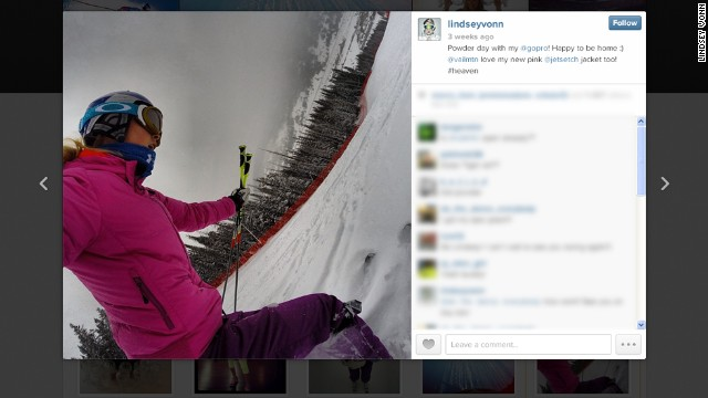 Vonn isn't shy when it comes to a selfie. The U.S. Winter Olympic gold medalist took this picture of herself doing what she does best -- taking to the slopes.