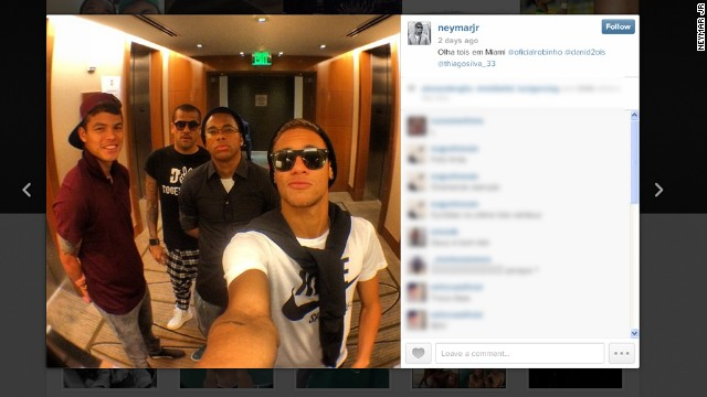 When it comes to selfies the Brazilian football team take some beating. This photo of Brazil and Barcelona forward Neymar (far right), accompanied by (left to right) Thiago Silva, Dani Alves and Robinho, was taken when the Brazil squad were in Miami.