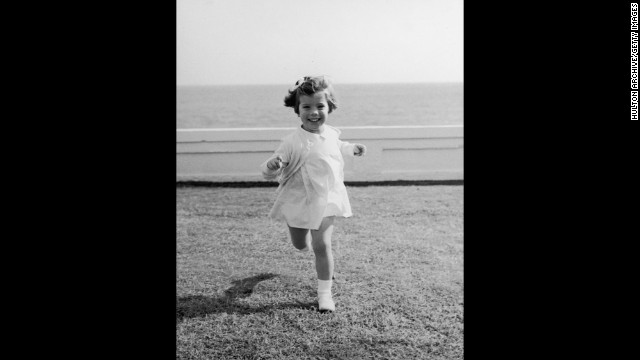 Caroline runs around during a family vacation in Palm Beach, Florida, in 1961.