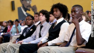 Students listen to Education Secretary Arne Duncan at an event in Washington in August.\n\n