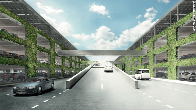 This parking garage will have solar panels on top and plants drizzled down the sides.