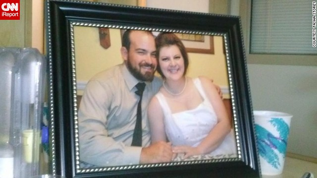 A framed wedding photo sits among the balloons, cards and gifts from friends and loved ones. Bradford says her week with Buck Storey was the happiest of her life.