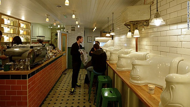 There are quite a few London restaurants that have made a point of using former toilet spaces as their venues. The Attendant, a subterranean London cafe, occupies a former Victorian toilet built in the 1890s. The interior retains the original floors, walls and urinals. Each urinal has been transformed into a seating cubicle. Read more: London's dash to 'toilet restaurants'