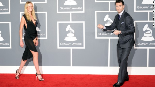 Levine and Vyalitsina arrive at the 54th annual Grammy Awards in Los Angeles in 2012.