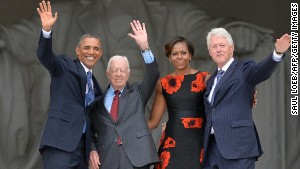 Obama, first lady Michelle Obama and ex-Presidents Clinton and Carter at the March on Washington\'s 50th anniversary.