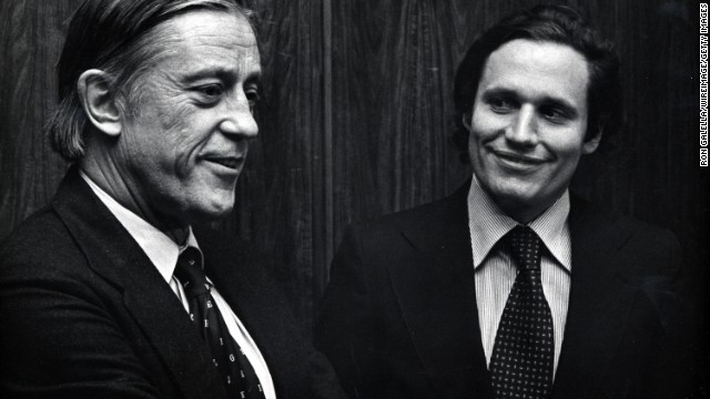 "Ben Bradlee, left, photographed with reporter Bob Woodward, was executive editor of The Washington Post during its coverage of the Watergate scandal and ""successfully challenged the Federal Government over the right to publish the Pentagon Papers,"" the White House said."