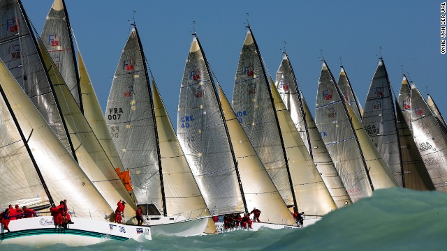 Onne van der Wal has traveled across the world taking photos of all sorts of vessels. Here he captured Farr 40s racing off Florida during the annual Key West Race Week.<!-- --> </br>