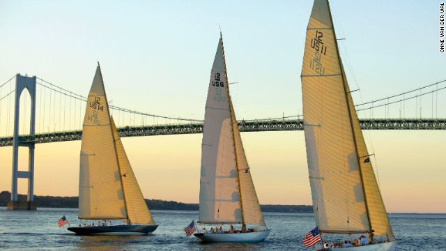 In Rhode Island, where van der Wal lives, three of the region's famous 12 Meters class boats (Northern Light, Gleam and Onawa) make the most of the sunset as they enjoy a cruise under the Newport Bridge.