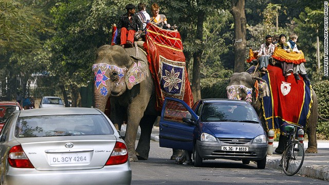 Riding an elephant in the chaos of Indian traffic may be nerve wrecking, but it's still better than the subway.