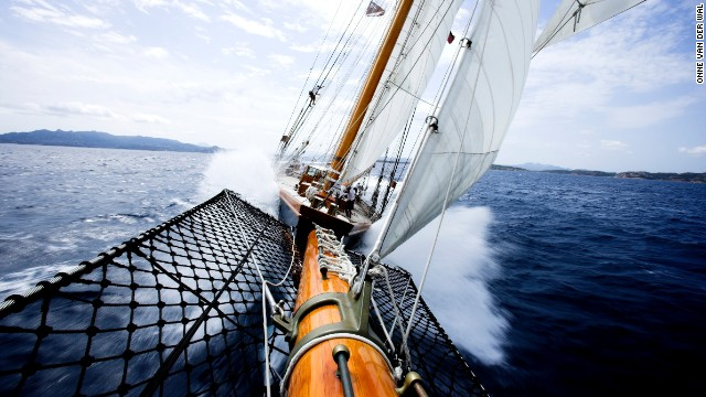 Out on the bowsprit of the schooner Shenandoah, Onne puts his camera in hand and his heart in his throat to capture the beauty of this yacht sailing off the coast of Sardinia.