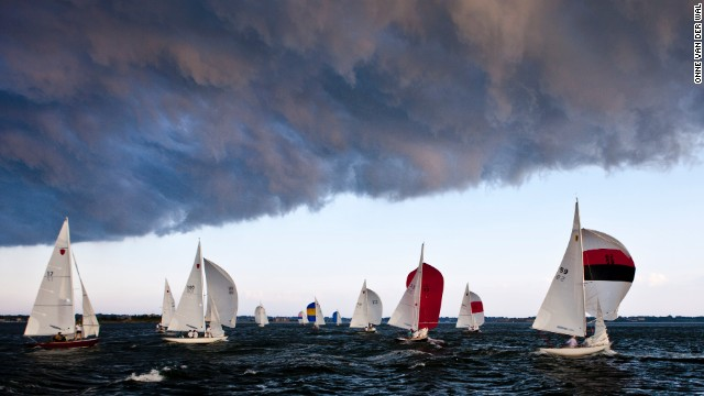 Newport's active Shields Fleet races every Wednesday throughout the spring, summer and fall, and isn't afraid of a little storm front rolling in over the fleet.