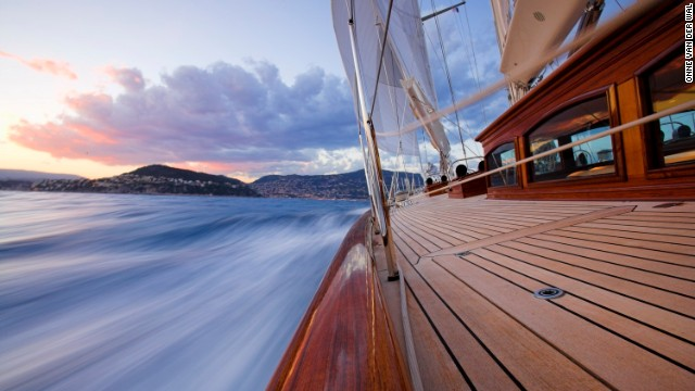 Another of his shots shows the rail of the beautiful 43-meter yacht, Skylge, as she sails towards the French Riviera in late summer.