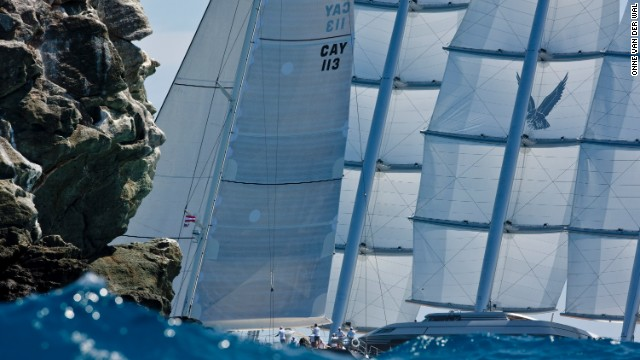 Here he pictures mega yachts P2 and Maltese Falcon rounding Ile Forchue in the Caribbean Sea during the annual St. Barth's Bucket Regatta.<!-- --> </br>