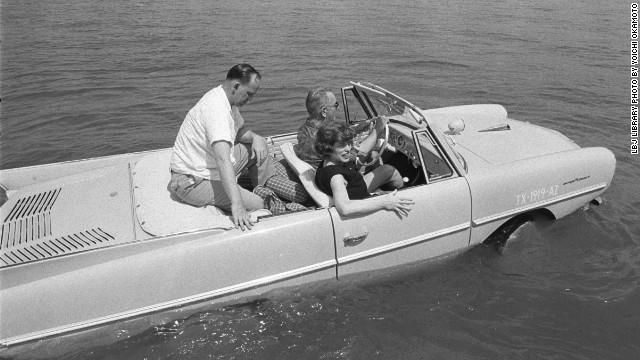 President Lyndon B. Johnson kept a collection of vehicles at his ranch in Texas. Among them was the Amphicar, a civilian amphibious passenger car produced in the 1960s.