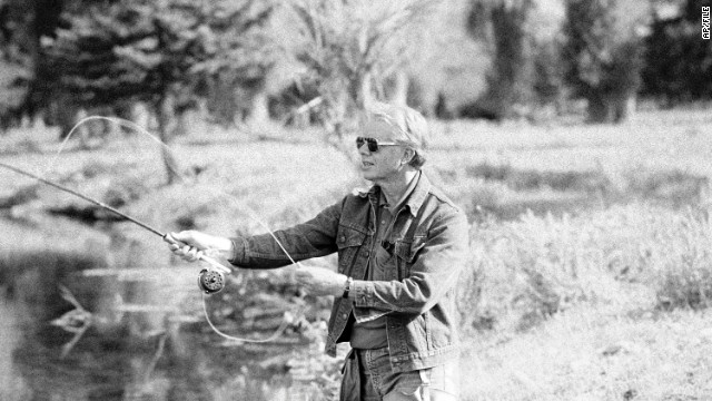 President Jimmy Carter and his wife, Rosalynn, began fly-fishing in Georgia in the early 1970s. Here the 39th president fishes in Wyoming in 1978.