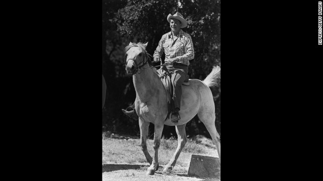 President Ronald Reagan enjoying riding horses at his ranch near Santa Barbara, California.