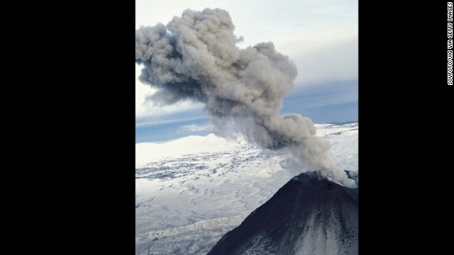 The Karymsky volcano erupts in Kamchatka, Russia, in January 2013.