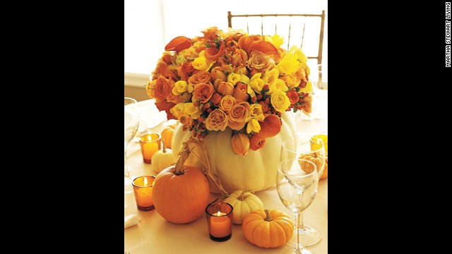 Great pumpkins: Orange blooms complement the shades of fall pumpkins.