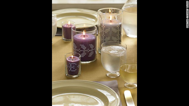 No-stitch cross-stitch: <a href='http://www.marthastewart.com/272383/no-stitch-cross-stitch?xsc=synd_cnn' target='_blank'>Make your own</a> votive holders for this centerpiece.