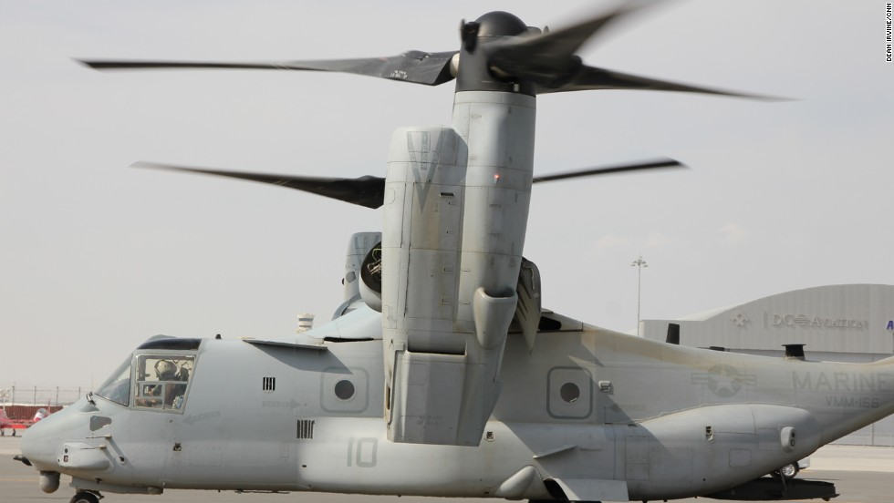 The U.S. military's V-22 Osprey preparing for a jump take-off at the Dubai Airshow.
