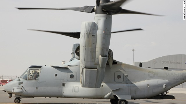 The Osprey has the speed and range of a turboprop airplane but the vertical maneuverability of a helicopter.