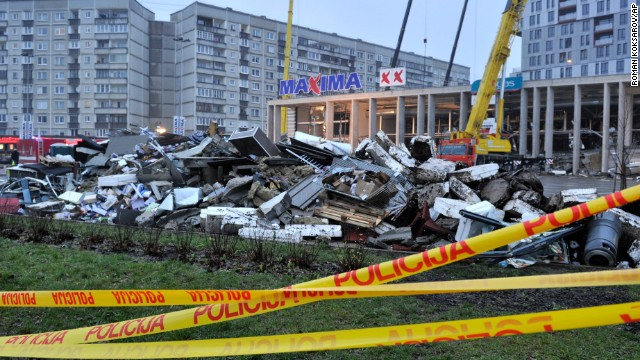 Debris piles up in Riga on November 22 after rescue teams removed it during the search for victims in the roof collapse.