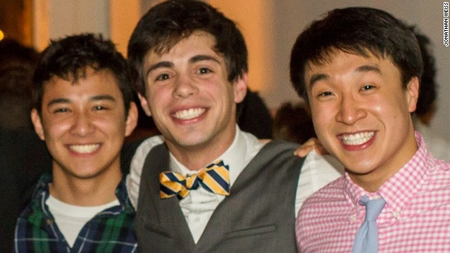 Jonathan Weiss -- at center with friends Michael Anthony Sun, left, and Oliver Ting -- is the self-proclaimed apparel chair of the the Alpha Tau Omega chapter at Emory University.