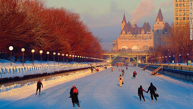 Ottawa has the world's largest natural ice rink -- the Rideau Canal. Crowds of commuters and students skate to work and school during rush hour. Yes, it's a legitimate mode of transit in Canada.