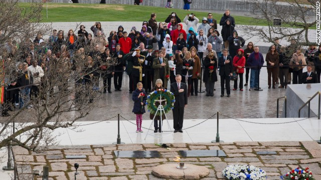 Jean Kennedy Smith, one of JFK's sisters, lays a wreath at his grave site November 22 at Arlington National Cemetery.